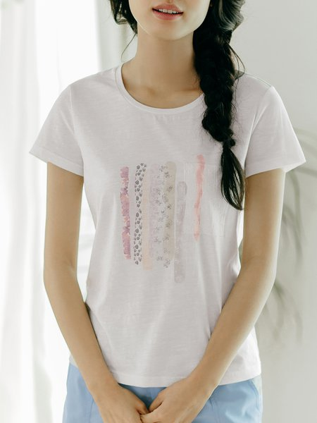 White Crew Neck Printed Short Sleeve T-Shirt