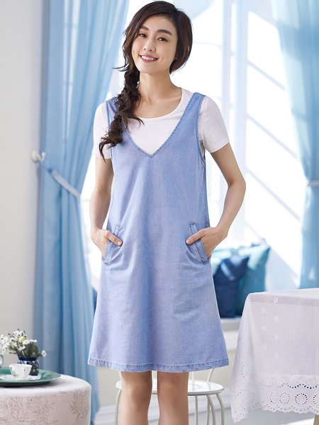 Scoop Neckline Shorts Sleeve Cotton Two Piece Casual Midi Dress