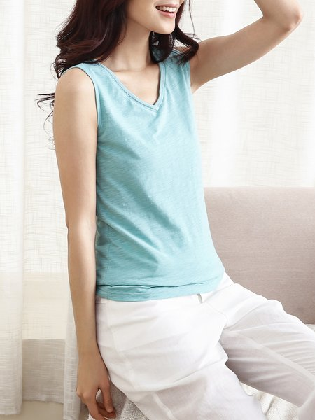 Light Blue V Neck Sleeveless Tanks And Cami