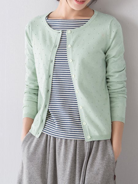 Buttoned Simple Knitted Long Sleeve Polka Dots Cardigan