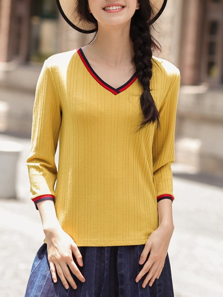 Spandex 3/4 Sleeve Casual V Neck Long Sleeved Top