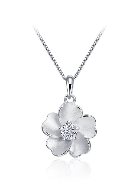 Zircon 925 Sterling Silver Flower Necklace