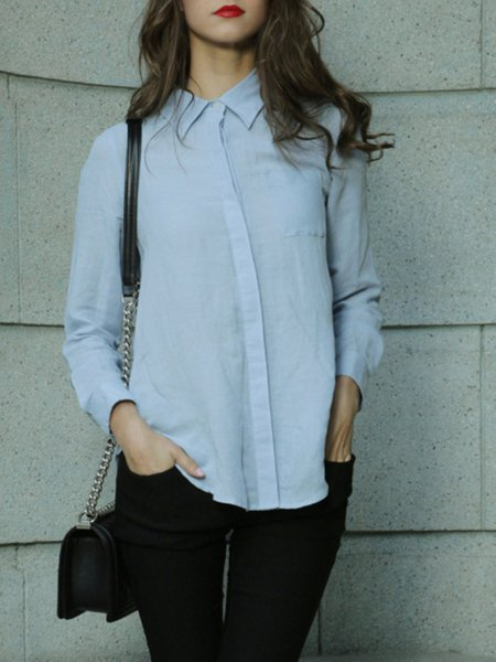Blue Shirt Collar Work Plain Blouse