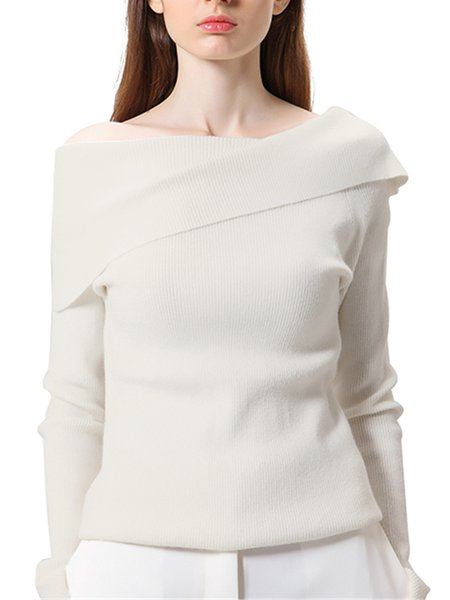 White Casual Sheath Off Shoulder Knitted Sweater