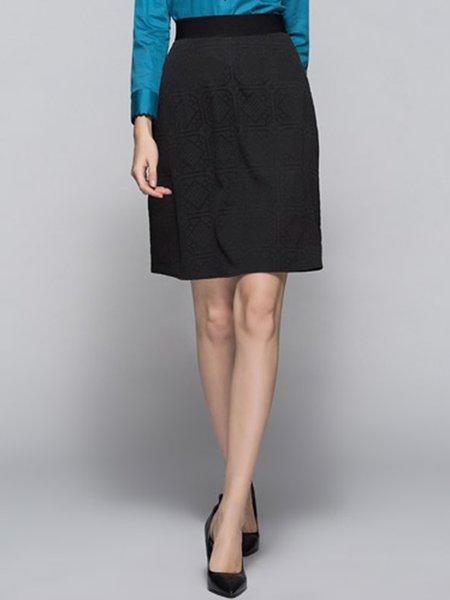 Black Jacquard Elegant Midi Skirt