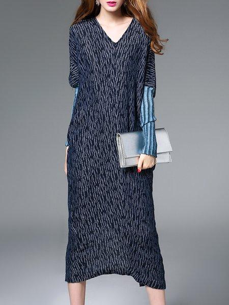 Blue Knitted Linen H-line Long Sleeve Midi Dresse