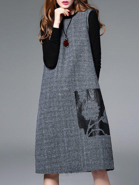 Gray Floral Simple Crew Neck Sleeveless Midi Dress