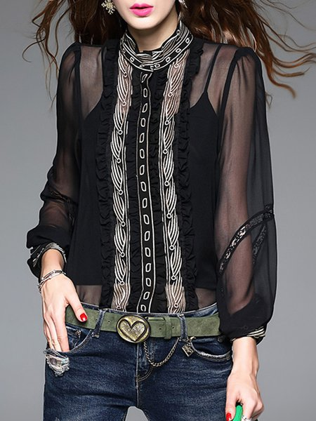 Black Embroidered Long Sleeve Silk-blend Blouse With Camis