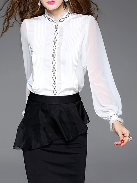 White Pleated Geometric Embroidered Paneled Blouse