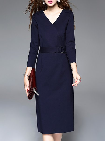Navy Blue Work Slit V Neck Sheath Midi Dress