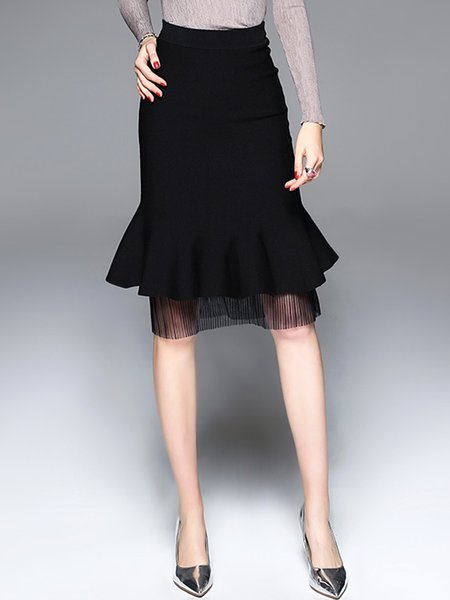Black Flounce Elegant Sheath Paneled Midi Skirt