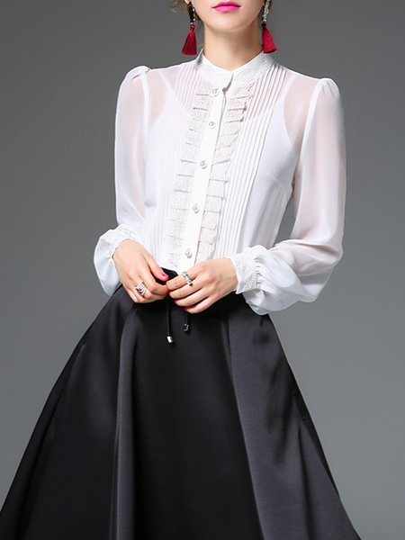 Stand Collar Pleated Girly Silk Balloon Sleeve Blouse with Camis
