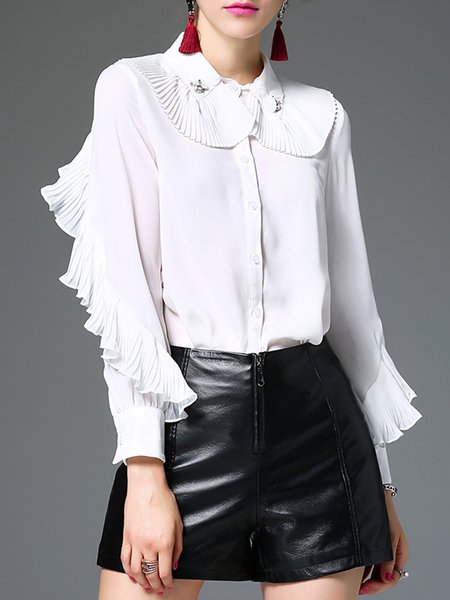 Girly Long Sleeve Peter Pan Collar Ruffled Blouse