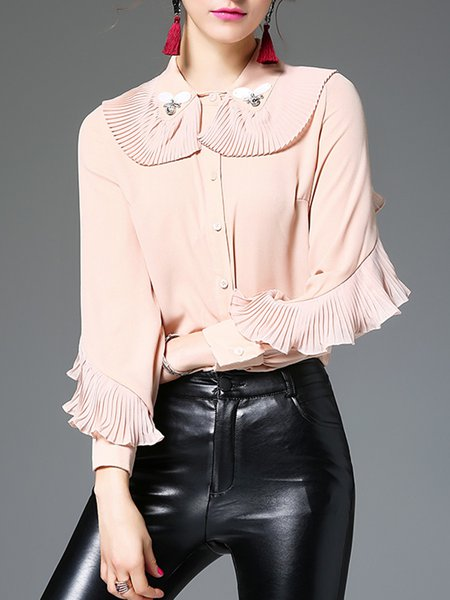 Pink Long Sleeve Peter Pan Collar Ruffled Girly Blouse