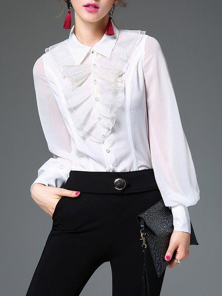 Girly Shirt Collar Long Sleeve Ruffled Blouse
