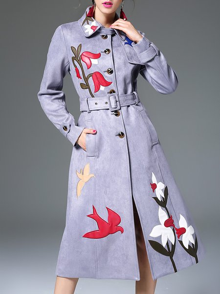 Gray Faux Suede Shirt Collar Long Sleeve Floral Coat with Belt