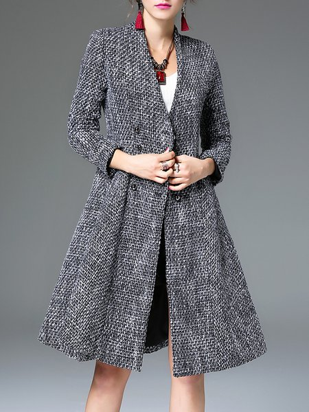 Woven A-line Long Sleeve V Neck Casual Coat