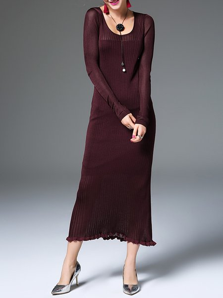 Simple Long Sleeve Knitted Crew Neck Sheath Sweater Dress
