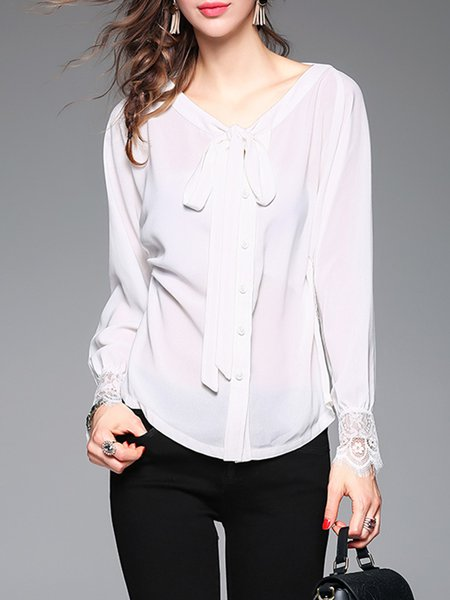 Elegant Bow Keyhole Plain Lace Paneled Long Sleeve Blouse