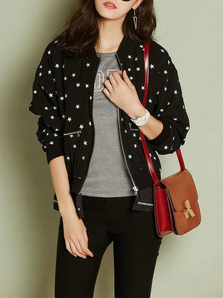 Black Geometric Long Sleeve Zipper Coat