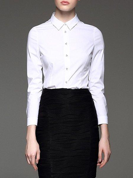 White Shirt Collar Casual Plain Blouse