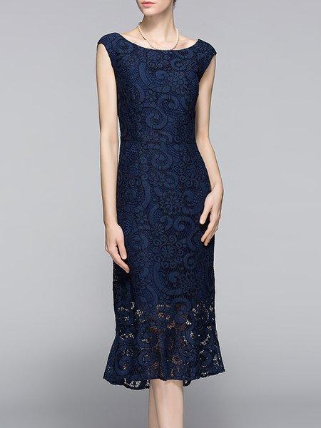 Dark Blue Sleeveless Bateau/boat Neck Crocheted Midi Dress
