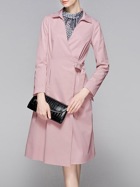 Pink Casual Bow Polyester Coat