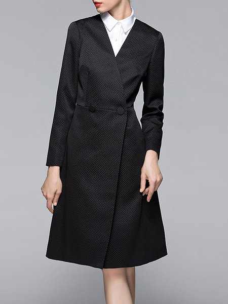 Black Buttoned Long Sleeve A-line Simple Coat