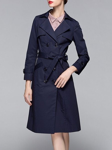 Dark Blue H-line Buttoned Lapel Simple Trench Coat