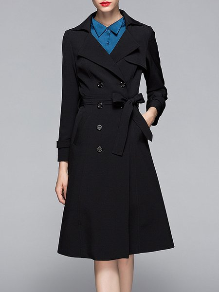 Black Pockets Polyester Simple Lapel Trench Coat