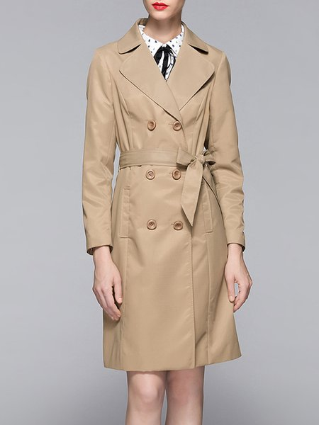 Apricot Double Breasted Long Sleeve H-line Pockets Trench Coat