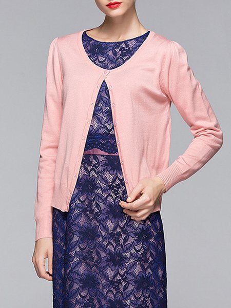 H-line Long Sleeve Polyester Knitted Casual Cardigan