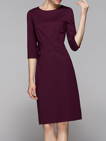 Wine Red Solid Elegant Ruched Midi Dress
