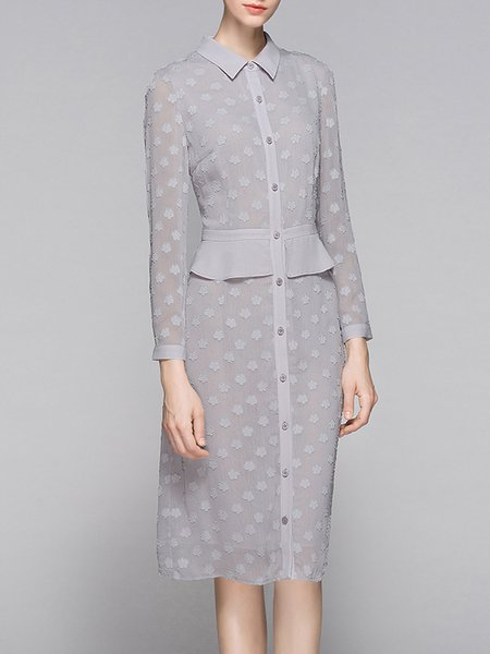Gray Polyester Long Sleeve Shirt Collar Midi Dress