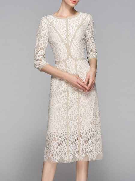 Beige Crew Neck Elegant Sheath Crocheted Midi Dress
