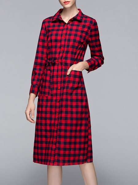 Red Checkered/Plaid Long Sleeve Pockets Shirt Dress