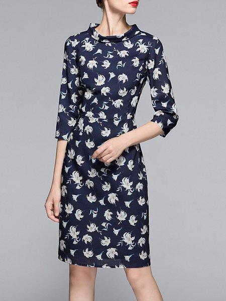Dark Blue Printed 3/4 Sleeve Stand Collar Midi Dress