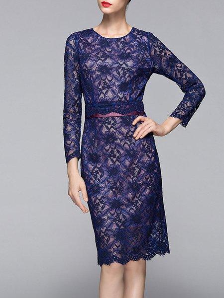 Dark Blue Floral Crew Neck Elegant Pierced Midi Dress