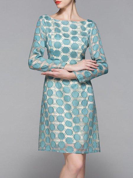 Light Blue Bateau/boat Neck Elegant Pierced Midi Dress
