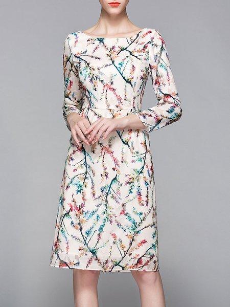 Bateau/boat Neck Elegant Printed 3/4 Sleeve Midi Dress