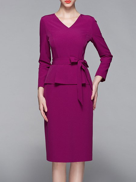 Fuchsia Long Sleeve V Neck Paneled Sheath Midi Dress