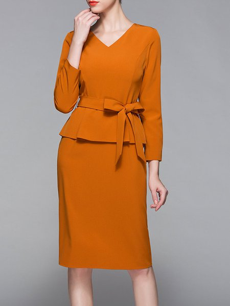 Orange Polyester Long Sleeve Midi Dress