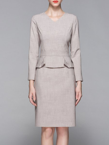 Apricot Plain Long Sleeve Paneled Midi Dress