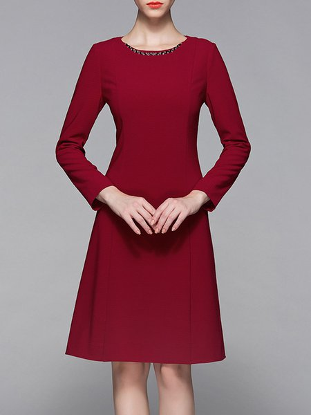Deep Red Zipper Elegant Midi Dress