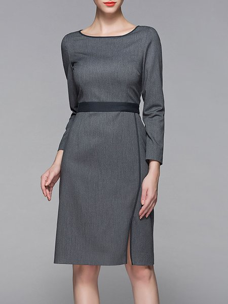 Deep Gray Elegant Slit Midi Dress