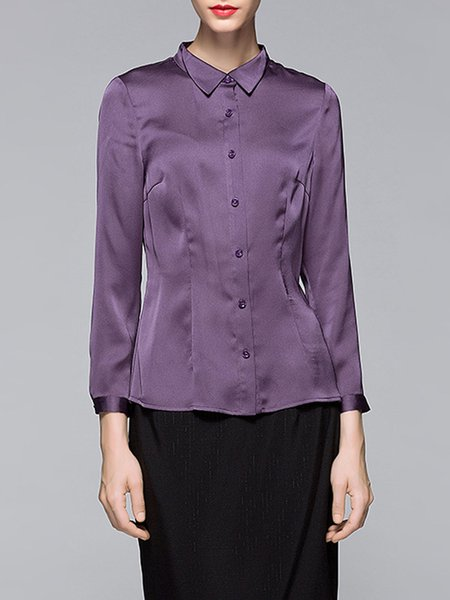 Purple Solid Long Sleeve Shirt Collar Polyester Blouse