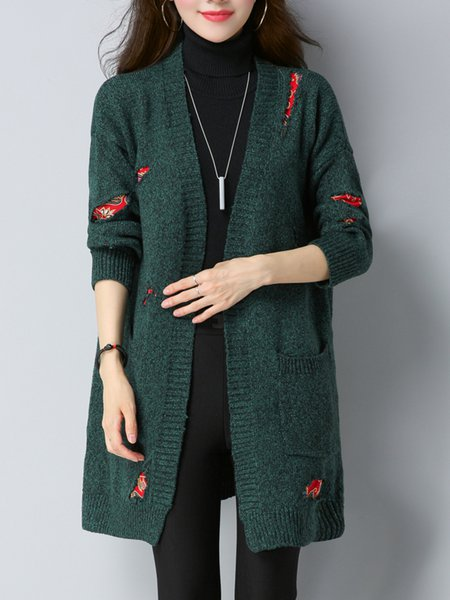 Dark Green Patch Casual Cardigan