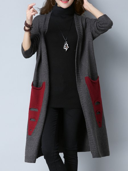 Pockets Solid Casual Long Sleeve Cardigan