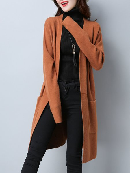 Solid Pockets Casual Long Sleeve Cardigan