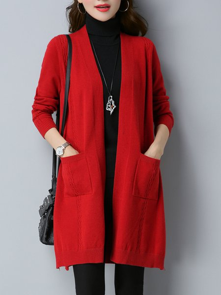 Long Sleeve Pockets Solid Cardigan